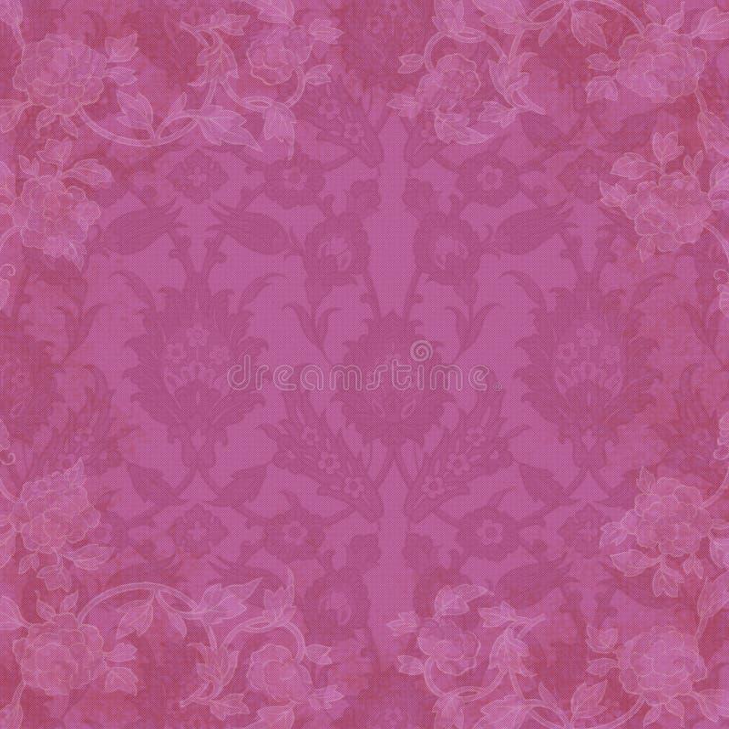 Hintergrund-rosafarbenes Blumen- und Spitze lizenzfreie abbildung