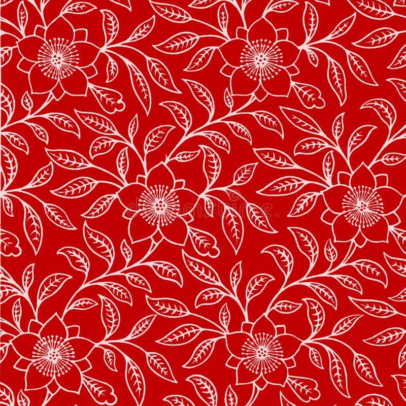 Hintergrund-rotes weißes Blumen lizenzfreie abbildung