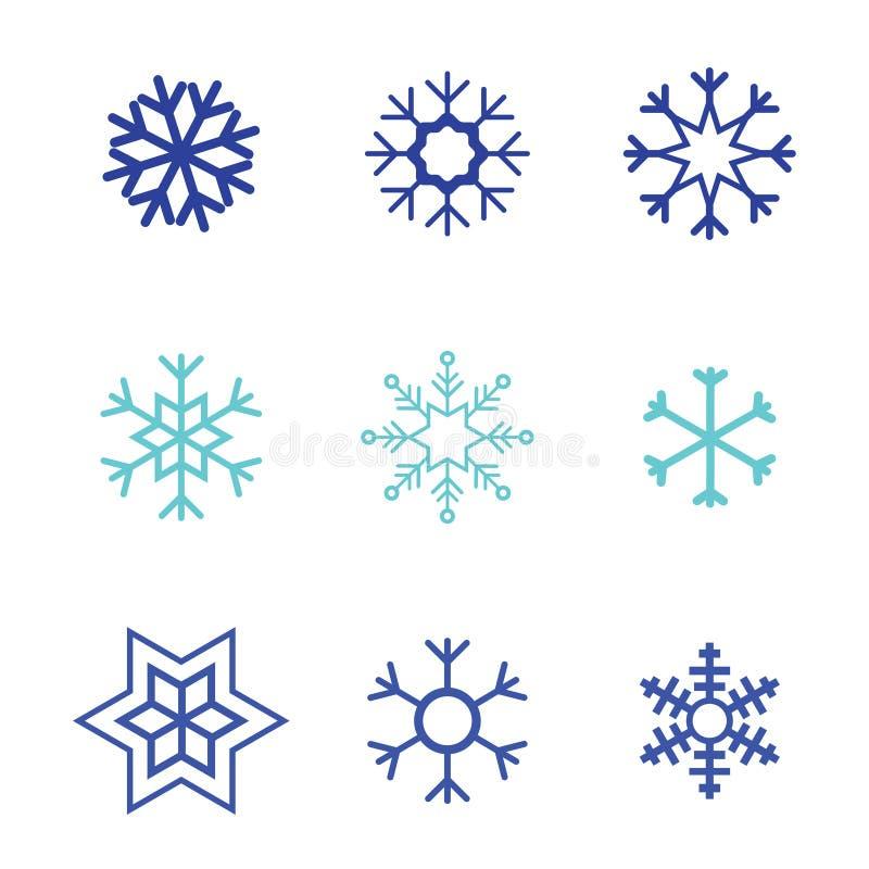 Hintergrund-Satzfarbe der Schneeflockenvektorikone weiße Flaches Kristallelement des blauen Schnees des Winters Weihnachts Wetter stock abbildung