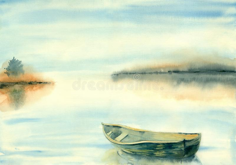 Hintergrund-Sommerlandschaft des Aquarells undeutliche stock abbildung