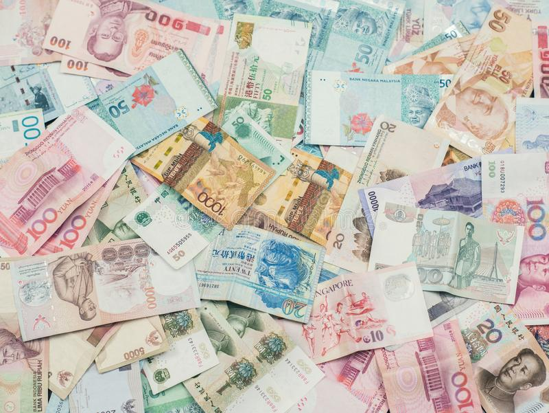 Hintergrund und Beschaffenheit des Geldes von Südostasien Währung von Kasachstan, von Hong Kong, von Indonesien, von Malaysia, vo lizenzfreie stockfotografie