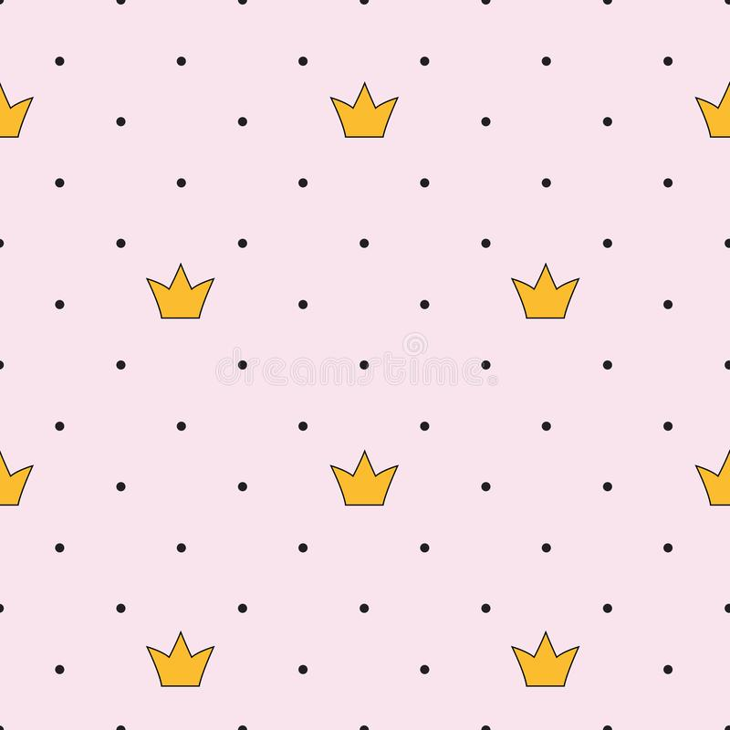 Hintergrund-Vektor-Illustration Prinzessin-Crown Seamless Pattern stock abbildung