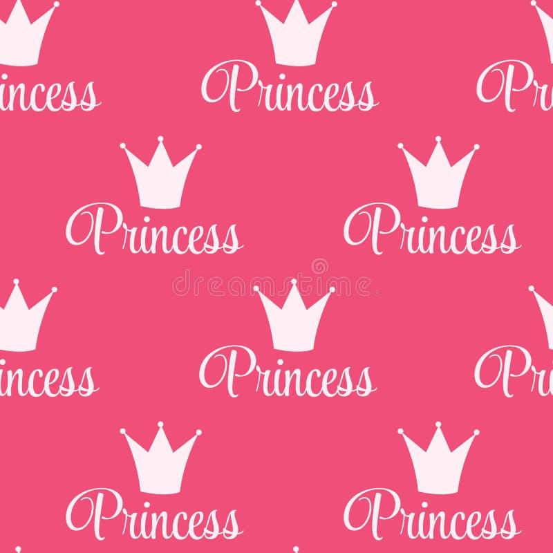Hintergrund-Vektor-Illustration Prinzessin-Crown Seamless Pattern. lizenzfreie abbildung