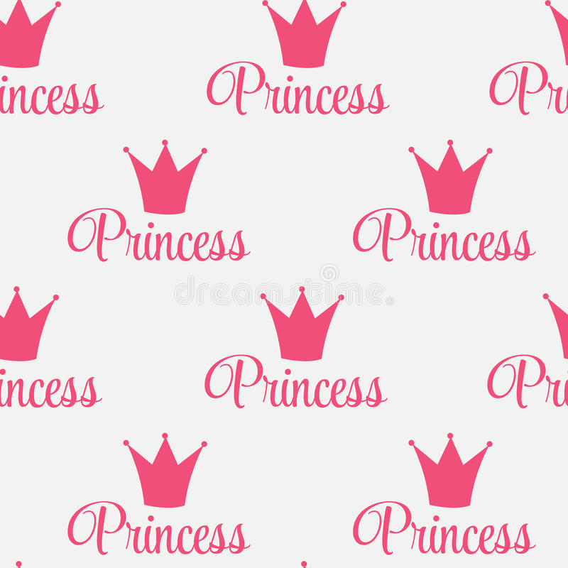 Hintergrund-Vektor-Illustration Prinzessin-Crown Seamless Pattern. stock abbildung