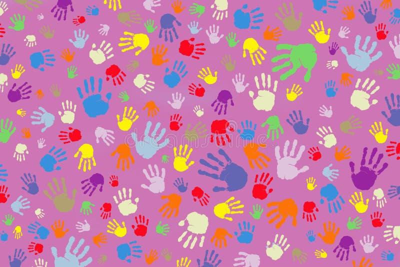 Hintergrund vieler farbigen Fingerabdrücke auf einem rosa Hintergrund lizenzfreie abbildung