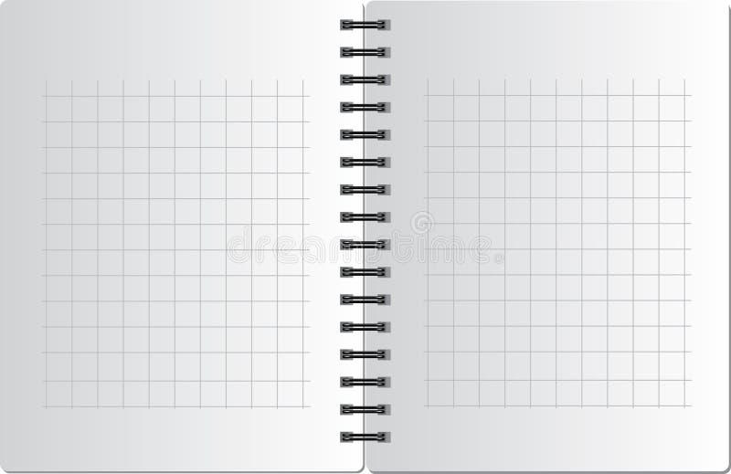 Hintergrund vom Notizbuch im Quadrat auf dem schwarzen SP lizenzfreie abbildung