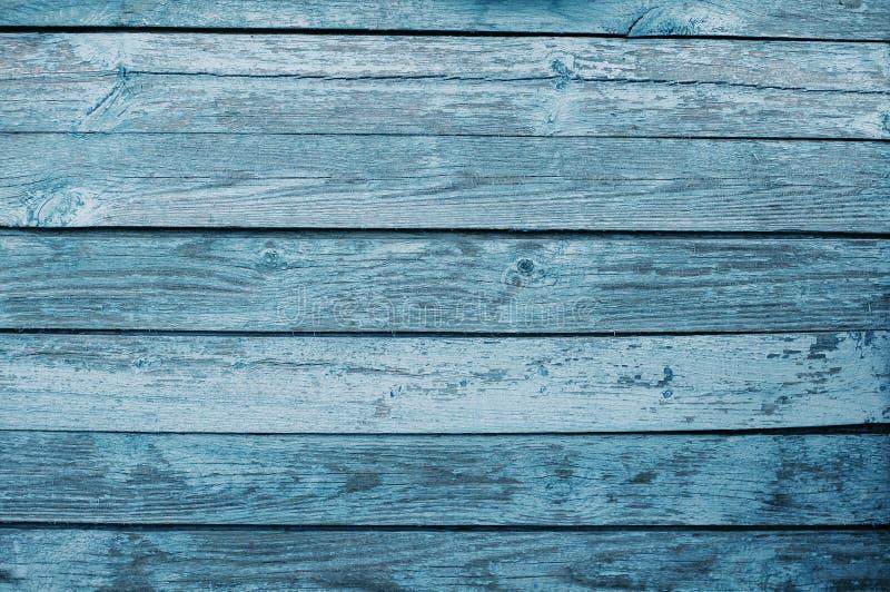 Hintergrund von alten blauen hölzernen Brettern stockbild
