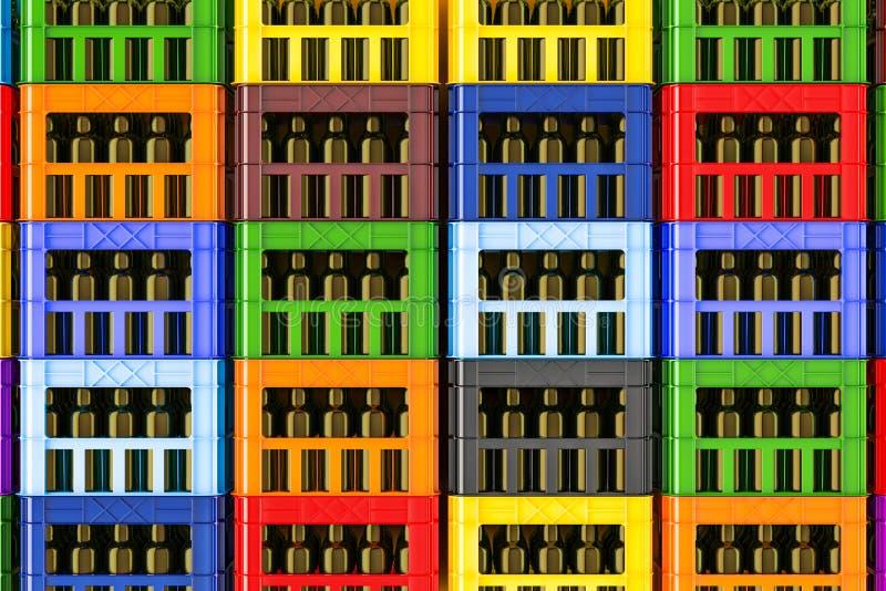 Hintergrund von den farbigen Plastikkisten voll von den Bierflaschen, 3d stock abbildung