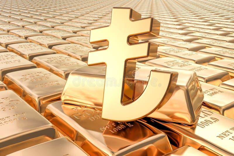 Hintergrund von den Goldbarren mit Lirasymbol, Wiedergabe 3D lizenzfreie abbildung