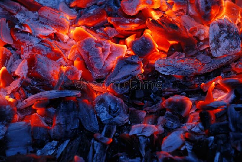 Hintergrund von der brennenden Holzkohle lizenzfreie stockbilder