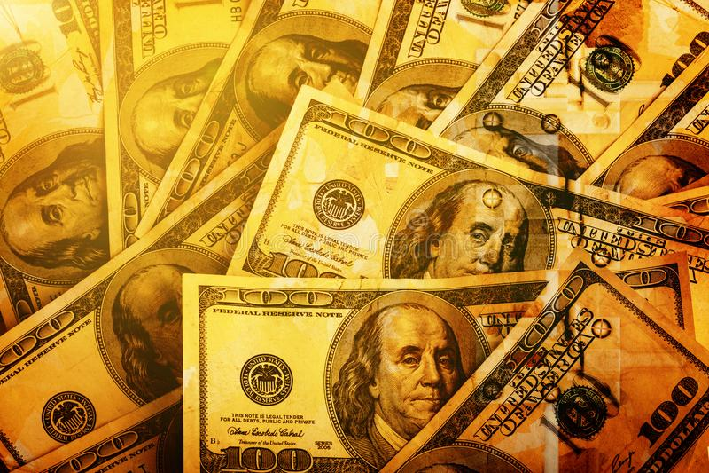 Hintergrund von hundert Dollarscheinen für Design stockbild