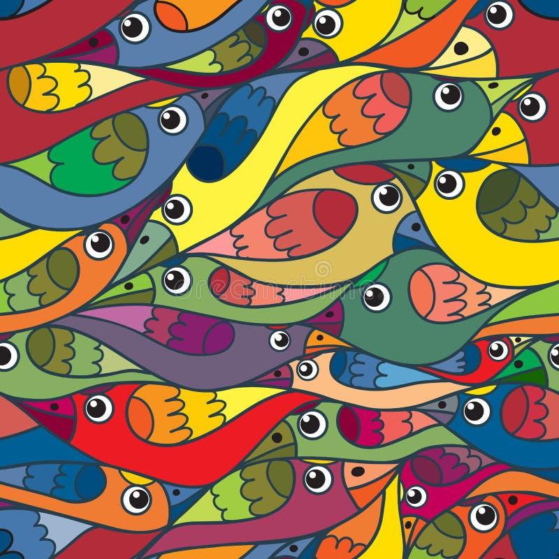 Hintergrund von kleinen Vögeln für Textildrucken, Packpapier stock abbildung