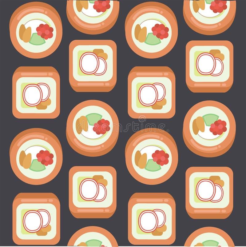 Hintergrund von Sushi, von Blau und von Orange lizenzfreie abbildung