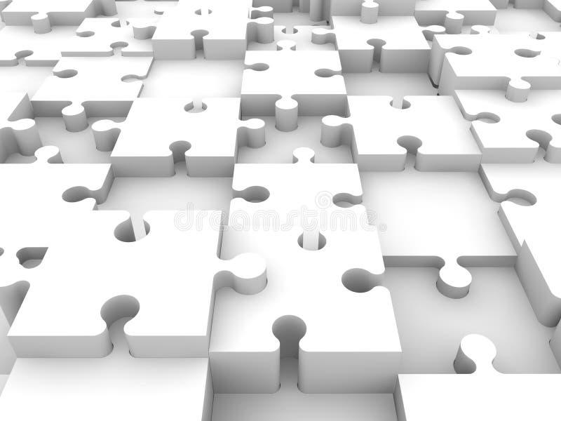 Hintergrund von weißen Puzzlespielstücken stock abbildung