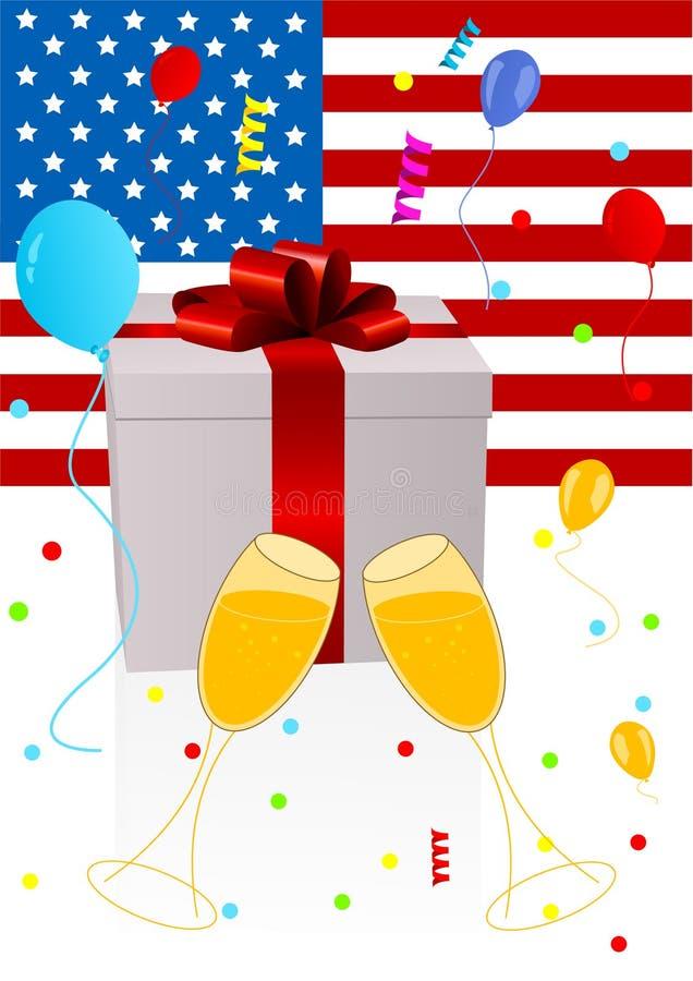 Hintergrundabbildung des Feierns von 4. Juli lizenzfreie abbildung