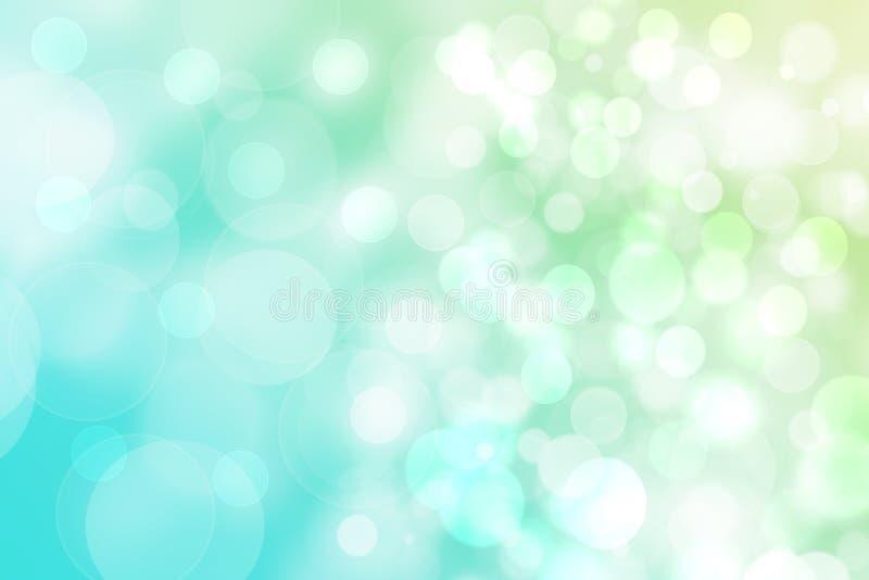 Hintergrundbeschaffenheit des T?rkises der Zusammenfassungssteigung gr?ne helle gl?nzende unscharfe mit Kreis-bokeh Lichtern Sch? vektor abbildung