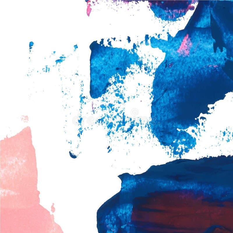 Hintergrundbeschaffenheits-Bürstenanschlag des Vektors abstrakter handgemalt mit Acrylfarbe, blau und rosa auf Weiß lizenzfreie abbildung