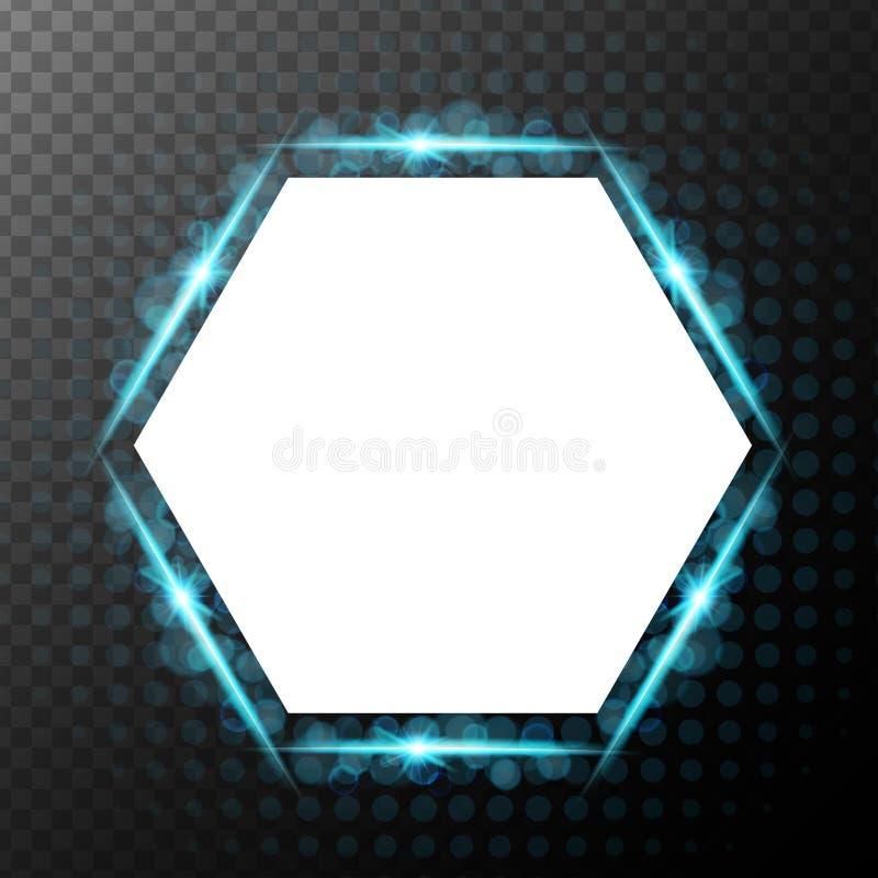 Hintergrunddesign mit Blaulicht um Hexagonrahmen stock abbildung