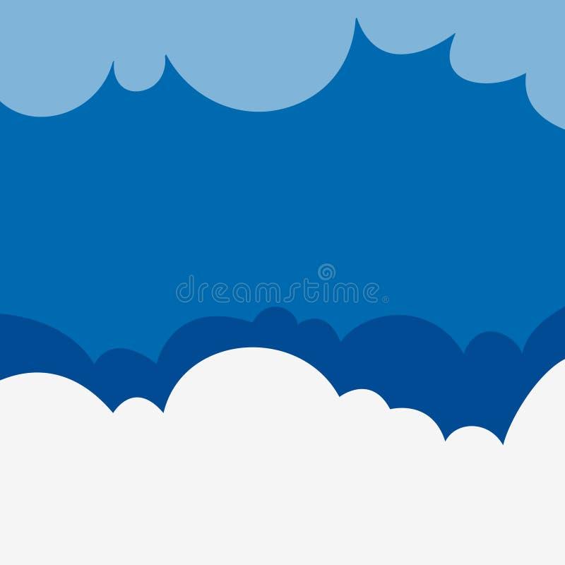 Hintergrunddesign mit flaumigen Wolken auf blauem Himmel stock abbildung