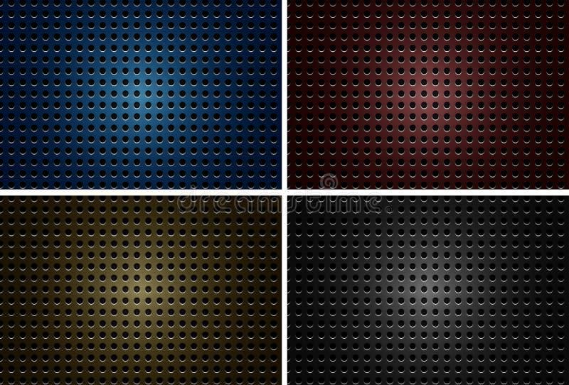 Hintergrunddesign mit metallischen Platten mit Löchern in vier Farben stock abbildung