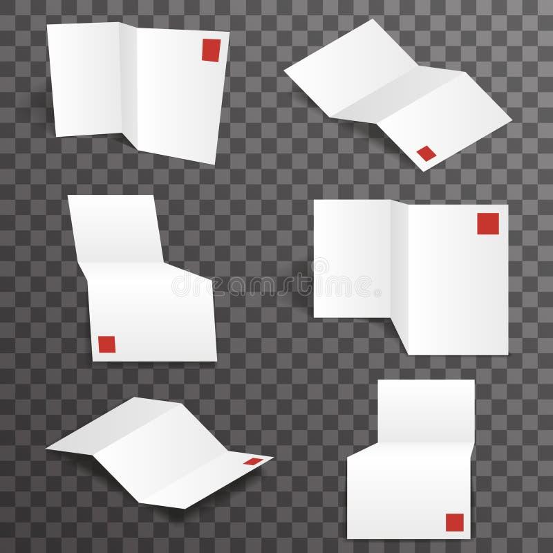 Hintergrunddesign-Vektorillustration der weißen Modellpapierschablone der Akkordeonverschiedenen ansichten gesetzte transparente stock abbildung