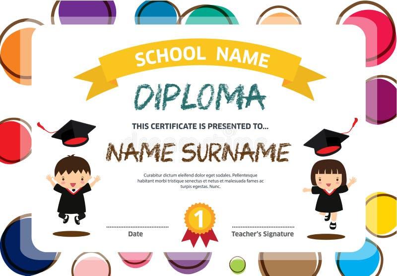 Hintergrunddesignschablonen-Vektor Illustration des Vorschule-Kinderdiplomzertifikats bunte lizenzfreie abbildung