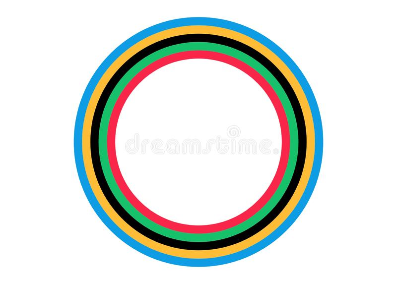 Hintergrundentwurf mit olympischem Farbstreifenkonzept in der Papierart Lokalisierter oder wei?er Hintergrund der Vektorillustrat lizenzfreie abbildung