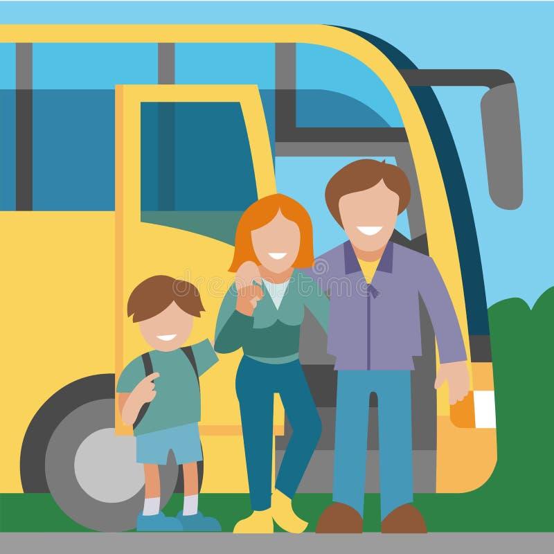Hintergrundfahnen-Vektorillustration der Familienreise mit dem Bus Gl?ckliche Autoreise Mutter, Vater und Sohn, der an reist stock abbildung