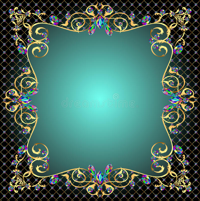 Hintergrundfeld mit Juwelen der Goldverzierungen vektor abbildung