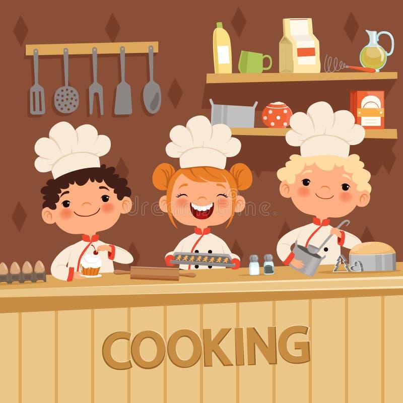 Hintergrundillustrationen von den Kindern, die Lebensmittel auf der Küche zubereiten lizenzfreie abbildung