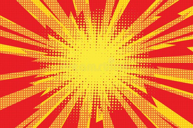 Hintergrundkarikaturblitz-Explosion radi der roten gelben Pop-Art Retro- lizenzfreie abbildung