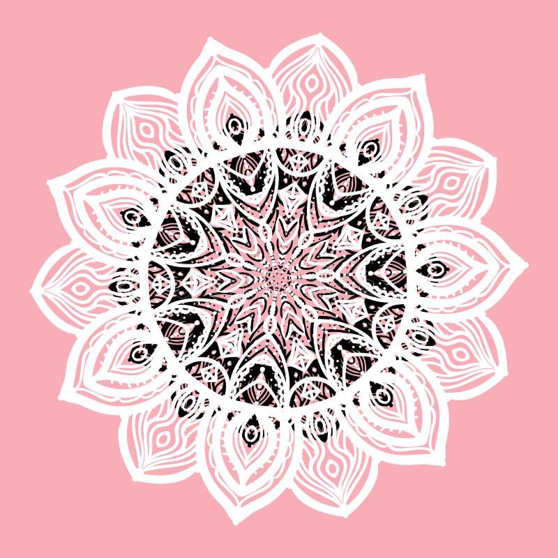 Hintergrundkarte der runden der Mandala des Vektors strukturierte weißen Zeichnung Handlokalisiert auf Rosa vektor abbildung