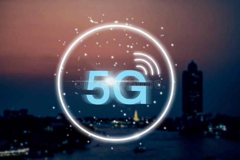 Hintergrundkonzept des drahtlosen Systems des Netzes 5G vektor abbildung