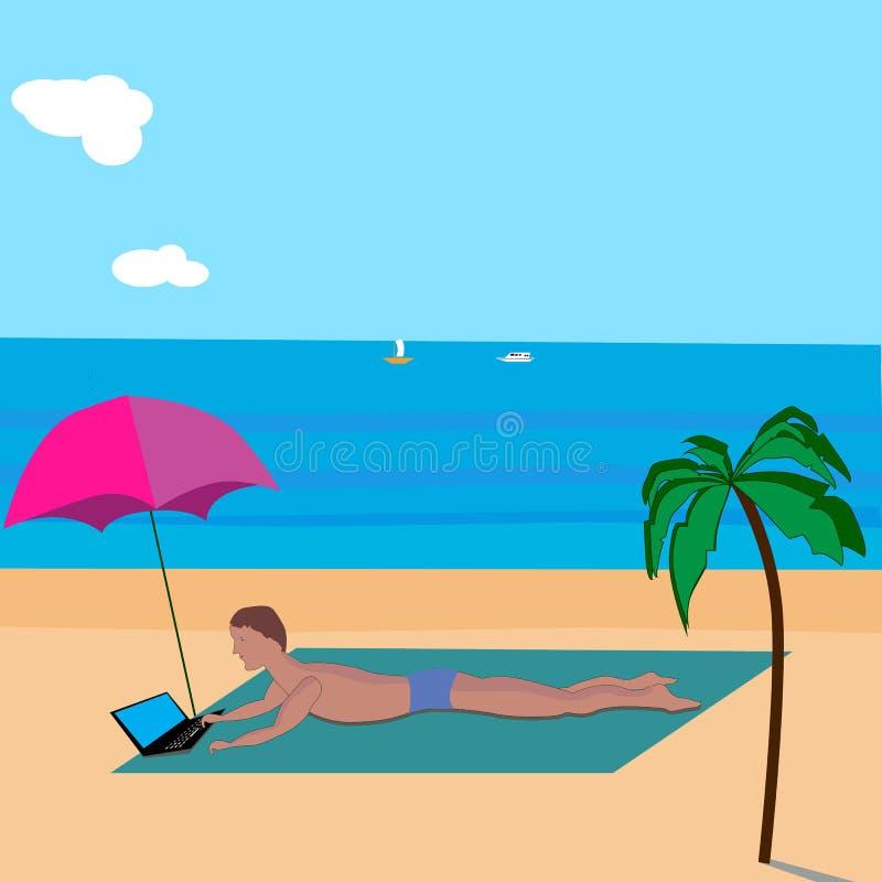Hintergrundmann mit Laptop ein Sonnenbad nehmend auf dem Strand lizenzfreie abbildung
