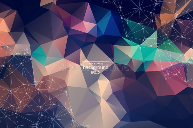Hintergrundmolekül und -kommunikation der geometrischen Weinlese polygonales Verbundene Linien mit Punkten Minimalismushintergrun stock abbildung