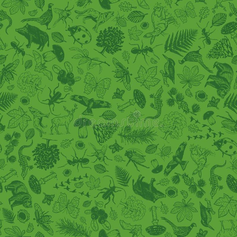 Hintergrundmuster mit Naturwaldthema stock abbildung