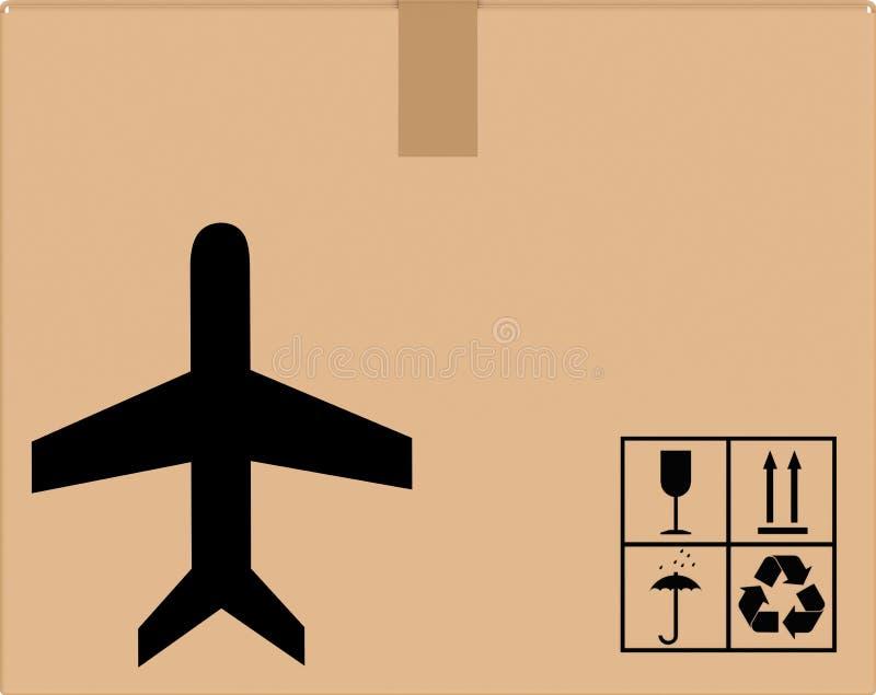 Hintergrundpappschachtel mit flacher Ikone vektor abbildung
