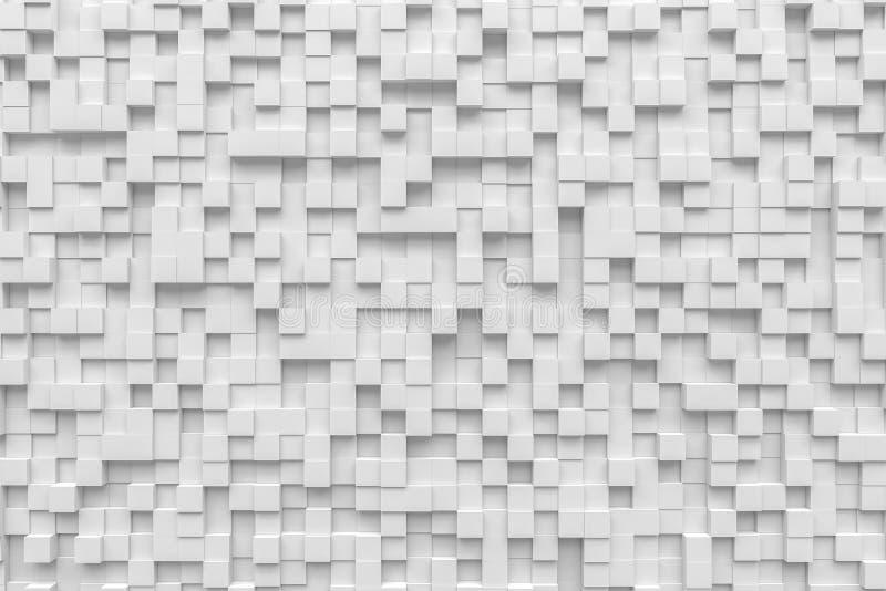 Hintergrundpixel pandom 3d des weißen Kästchenwürfels gelegentliche Wiedergabe lizenzfreies stockbild