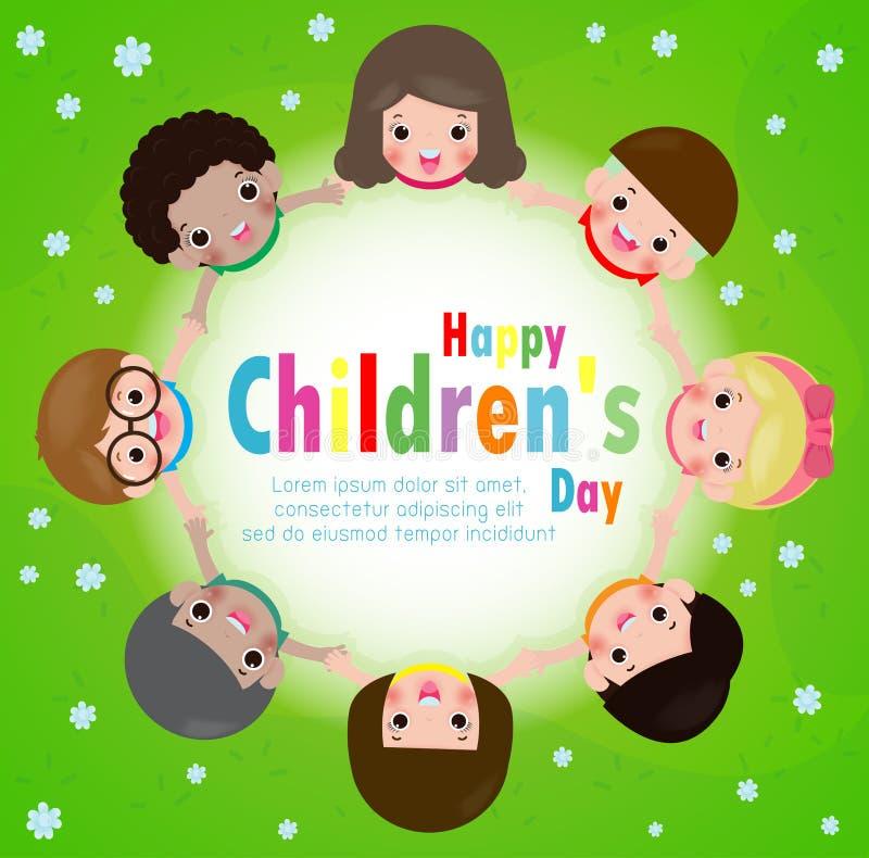 Hintergrundplakat der glückliche Kinder Tagesmit dem glücklichen Kinderhändchenhalten in einem Kreis auf der Wiese, Vektorillustr vektor abbildung
