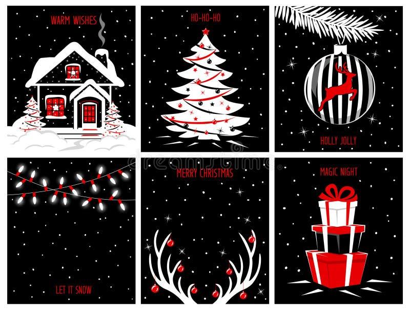 Hintergrundposter der frohen Weihnachten und des guten Rutsch ins Neue Jahr, Grußkartenschablonen mit Nachtabendszenen lizenzfreie abbildung