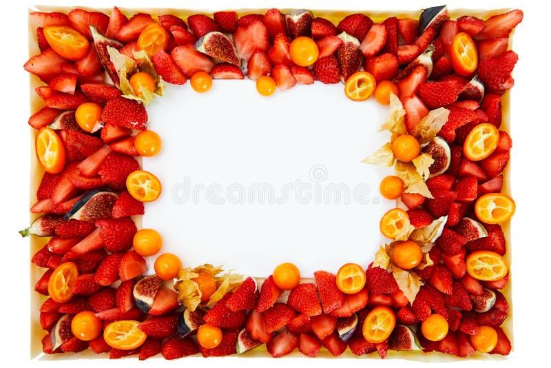 Hintergrundrahmen von frischen Früchten, Erdbeerdaten stockbild