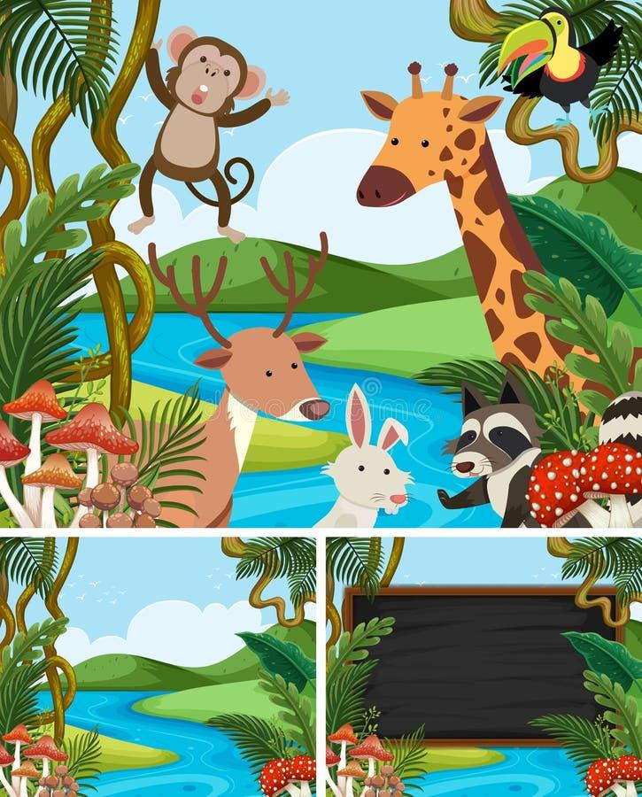 Hintergrundschablone mit Tieren im Berg lizenzfreie abbildung