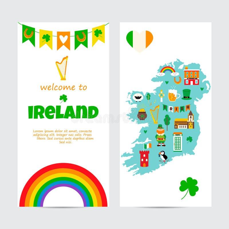Hintergrundschablone mit touristischer Karte von Irland mit Marksteinen, Symbolen und Text lizenzfreie abbildung