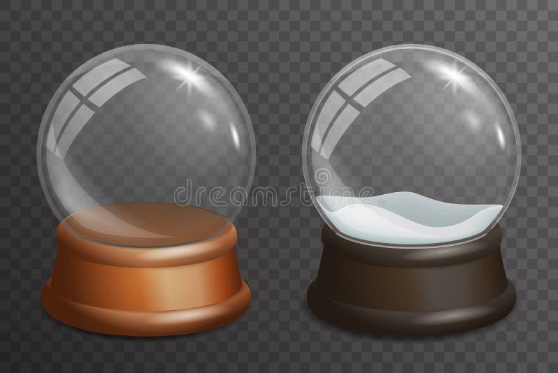 Hintergrundschablonen-Vektorillustration des realistischen des Glaskugelhöhepunktes des Schnees 3d Stands hölzernen transparente lizenzfreie abbildung
