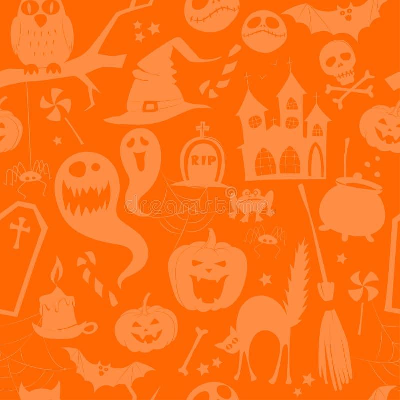 Hintergrundschattenbildhalloween-Parteimuster des orange Kürbises nahtloses lizenzfreie abbildung
