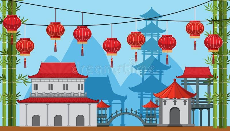 Hintergrundszene mit Gebäuden und Lampen in der Porzellanstadt lizenzfreie abbildung