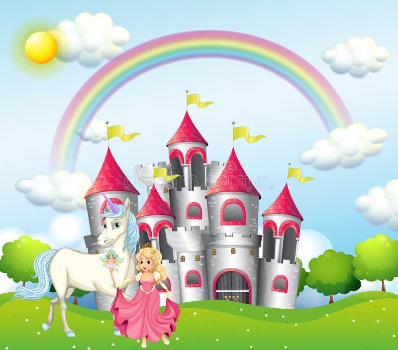 Hintergrundszene mit Prinzessin und Einhorn am rosa Schloss lizenzfreie abbildung
