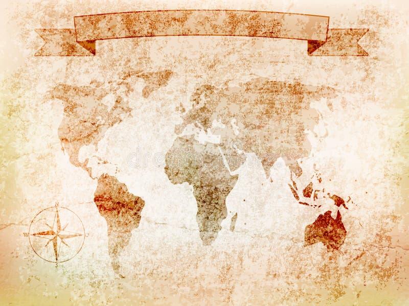 Hintergrundweltkarte auf alter Wand mit Sprung, windrose, Fahne Abbildung stock abbildung