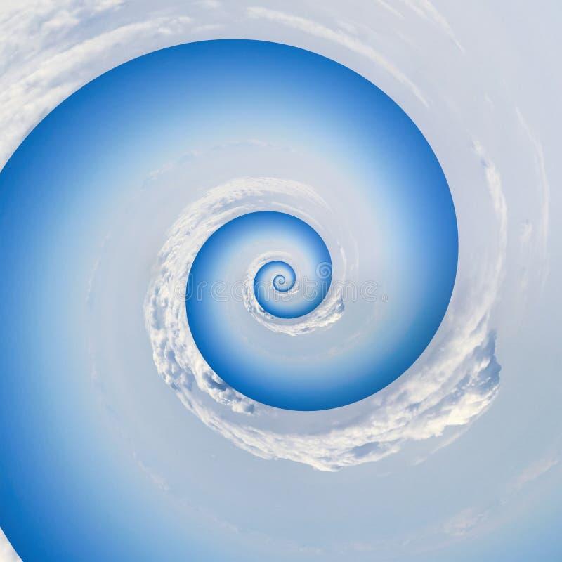 Hintergrundwolkenhimmel-Spiralenrotation collage stock abbildung