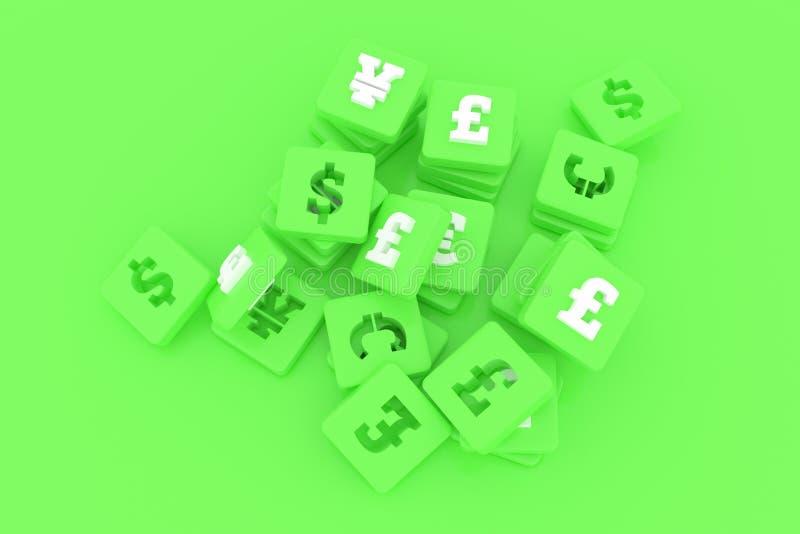 Hintergrundzusammenfassung, Bündel der Währung u. des Zahlcharakterzeichens oder Symbol für Entwurf, grafische Ressource 3d ?bert stock abbildung